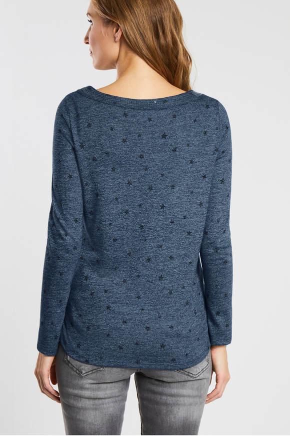 Cecil. Shirt met sterrenprint Blauw melange