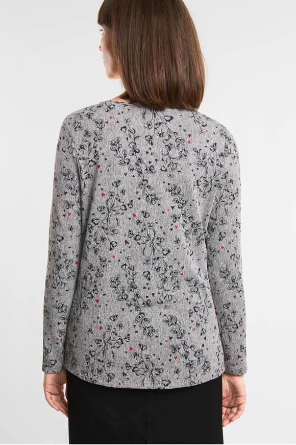 Cecil. Gemêleerd shirt met bloemen mineral grey melange