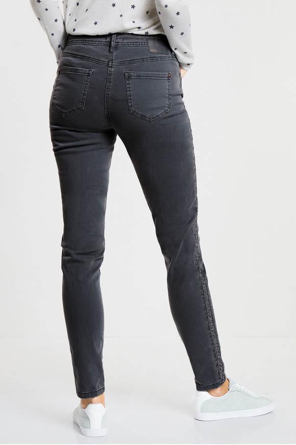 Cecil. Versierde jeans Victoria dark graphite grey