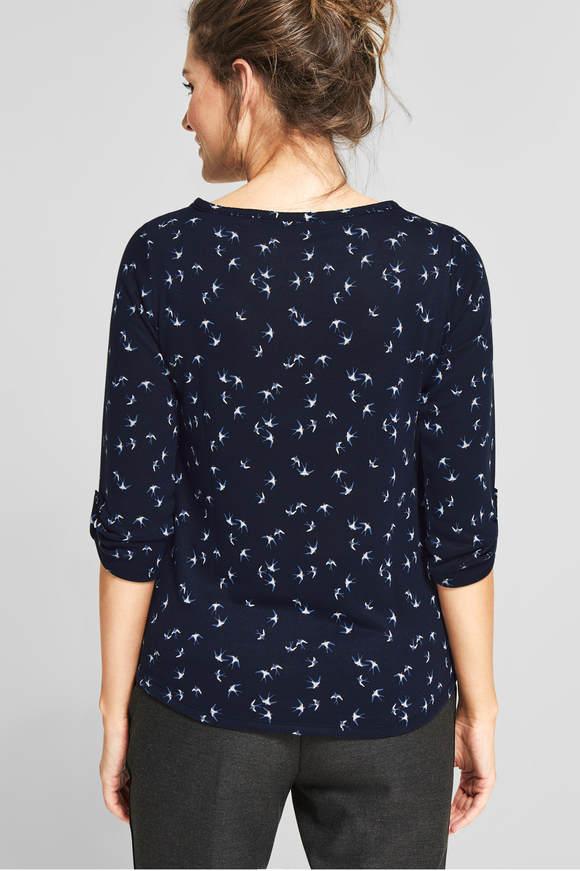 Cecil. Shirt met vogelprint Karlie deep Blauw
