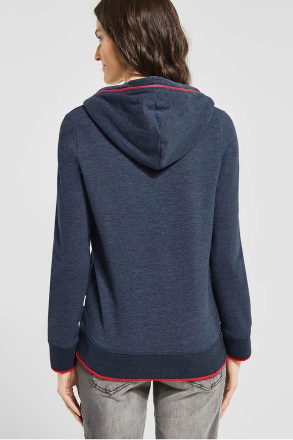 Cecil. Basic vest in hoodiestijl deep Blauw melange