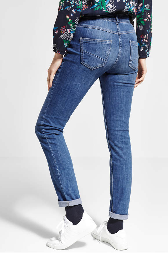 Cecil. Tight fit jeans Charlize mid Blauw used wash