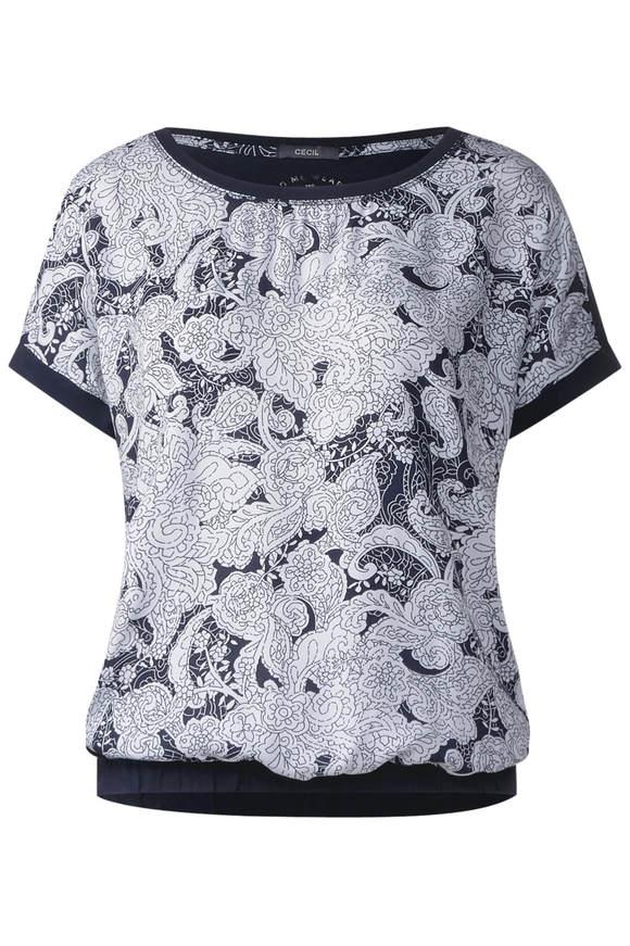 Oriental-Print Shirt Alara - deep blau