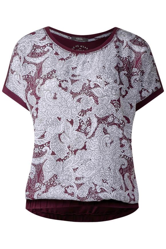 Oriental-Print Shirt Alara - deep loganberry