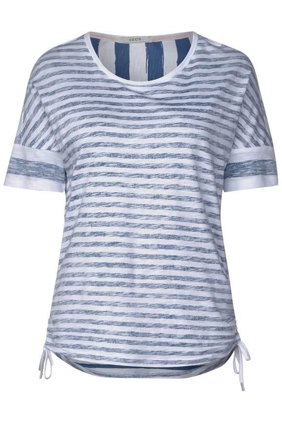 3f336b68e52f26 Streifenshirt mit Raffung - deep blau günstig kaufen