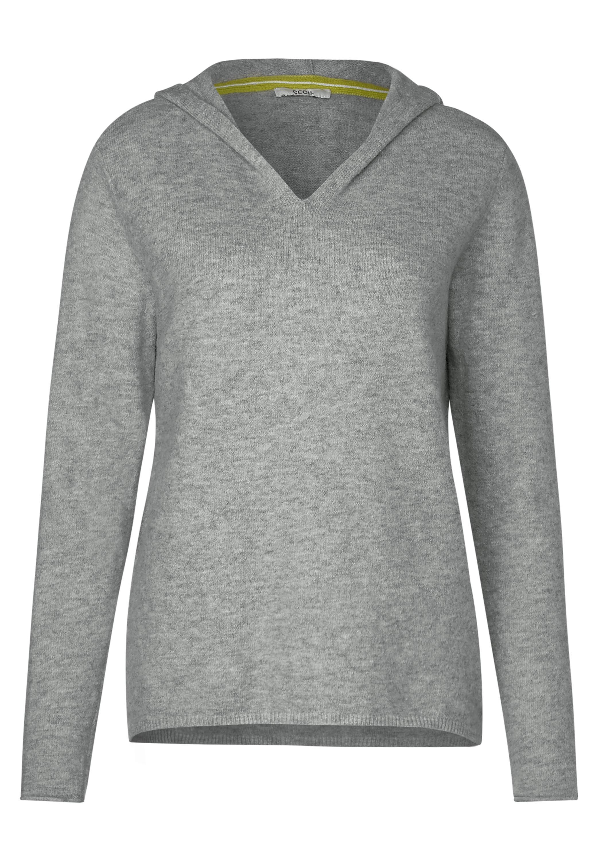 CECIL Pullover mit V-Ausschnitt in Mineral Grey Melange